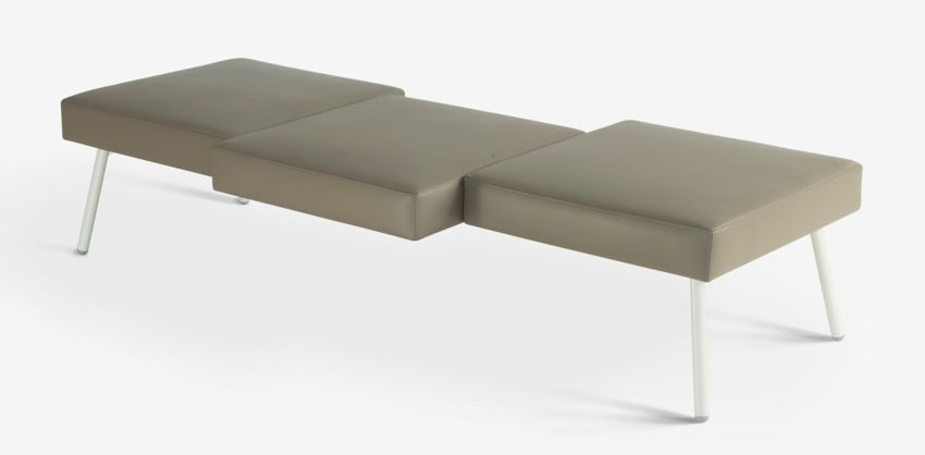 HM101 3-seat leather bench