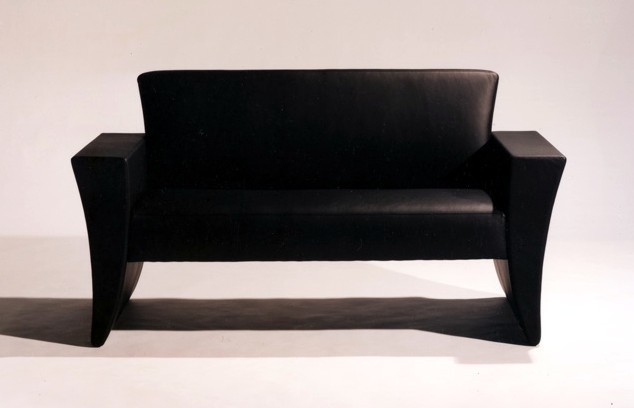 Textbook's B Series sofa in black leather