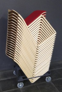 40/4 chairs in wood, stacked