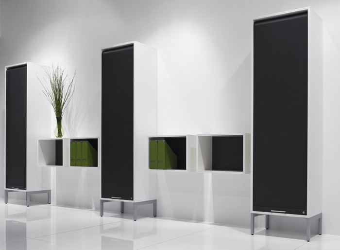 Arki+ tall tambour cabinets + wall-mounted