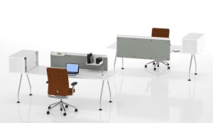 Ad Hoc table system - single desks with screens