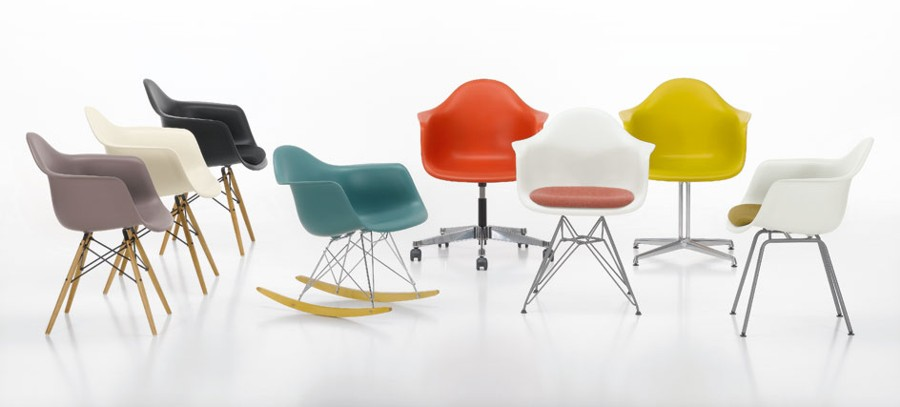 Eames plastic armchair in colours