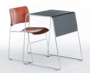 Tutor table in grey with red 40/4 chair