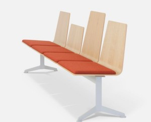 HM213 beam seating with upholstered seat pads