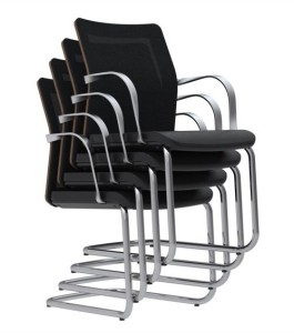 MN1 chair, low mesh back, stacking cantilever base