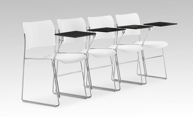 40-4 chairs with black writing tablets