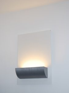 Wall mounted uplighter, cast aluminium and painted steel