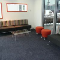 Entrance lobby combines colour style design and function