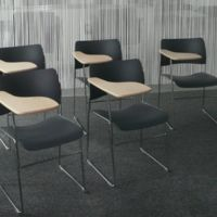 Training room seating with additional writing surface