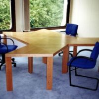 Wood tables create interesting workplaces