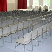 Large installation of comfortable upholstered chairs